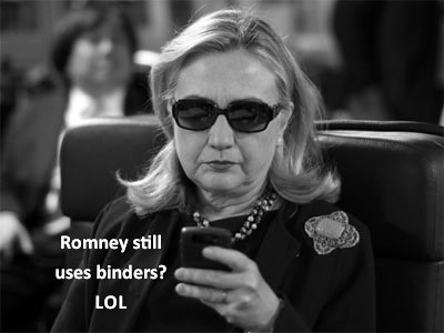 hillary clinton making fun of mitt for using binders