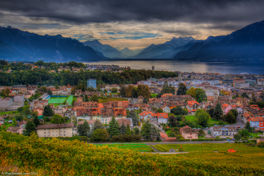 Overlooking Montreux and Lake Geneva from Lavaux Wine Terraces