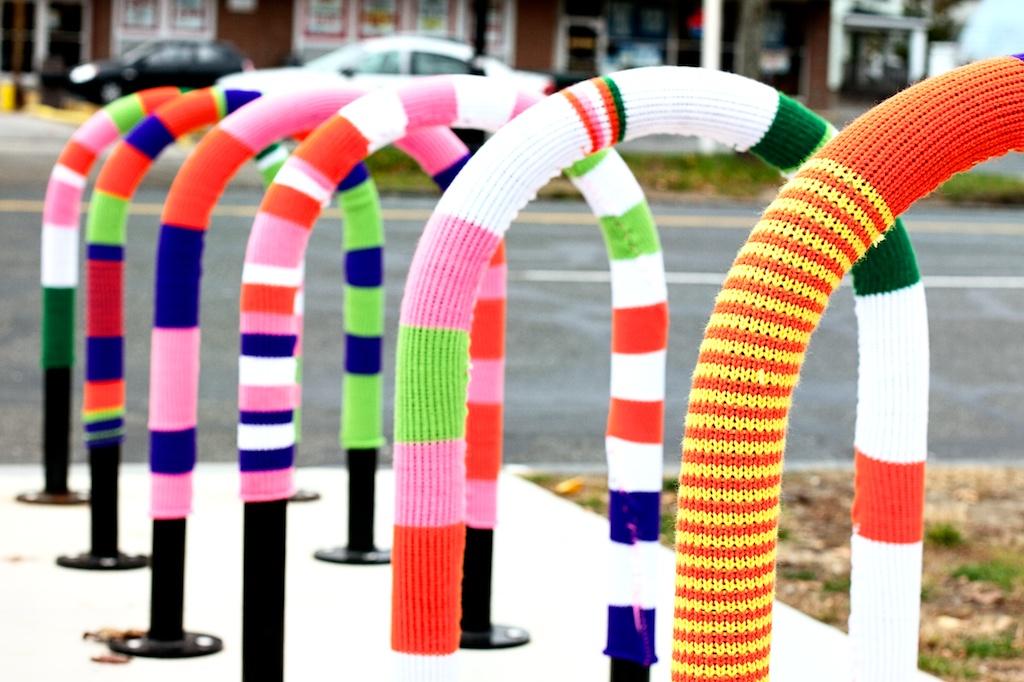 Yarn bomb bike rack