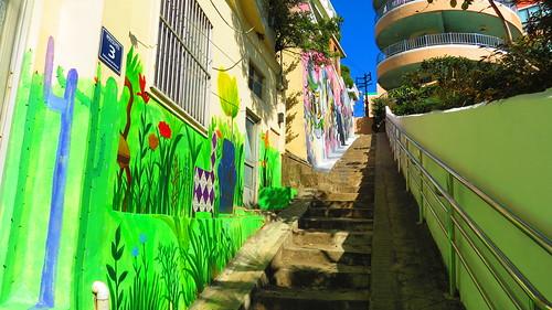 Stairway behind school
