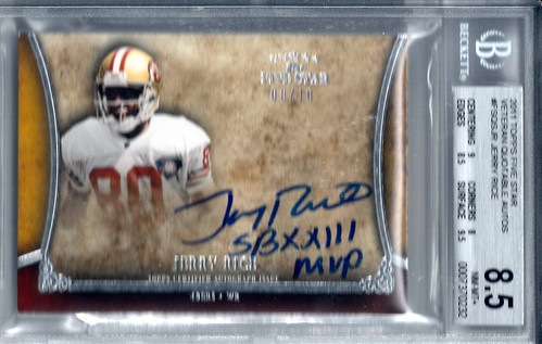 2011 Topps Five Star Veteran Quotable Autographs #FSQSJR Jerry Rice (8 of 10) BGS 8.5