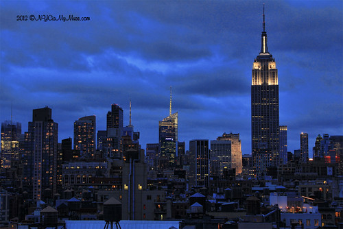 Ominous clouds on NYC Skyline as Hurricane Sandy Approaches, Empire State Building in White