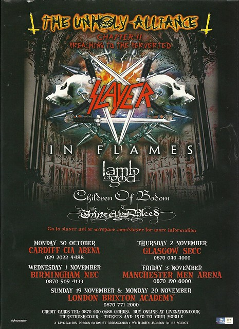 10/30/06 - 11/20/06 Slayer Unholy Alliance UK Tour