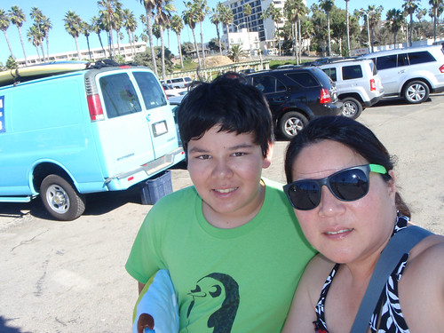 Waiting at Santa Monica for our SUP time