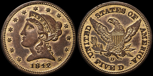 counterfeit 1842-D half eagle
