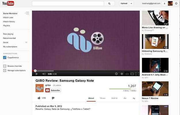 Nueva interfaz de Youtube (2012)