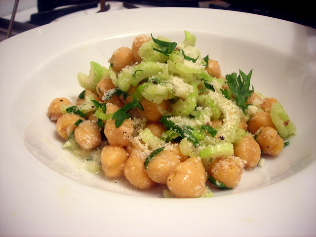 Celery and garbanzo bean salad