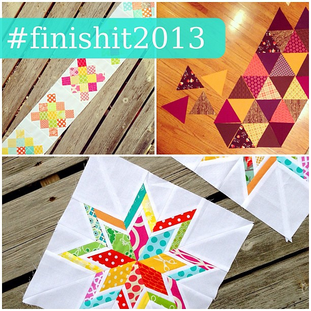 i'm on a mission to FINISH IT in 2013! here are the next three quilts on my agenda. do you have any projects you'd like to finish up this year? join me by using #finishit2013