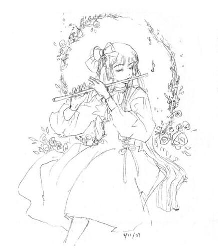 classic flute sketch