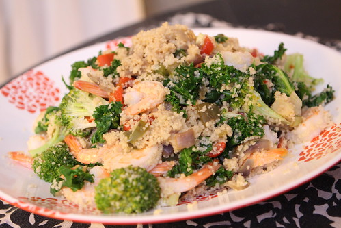 Shrimp Cous Cous with Kale, Broccoli, and Peppers