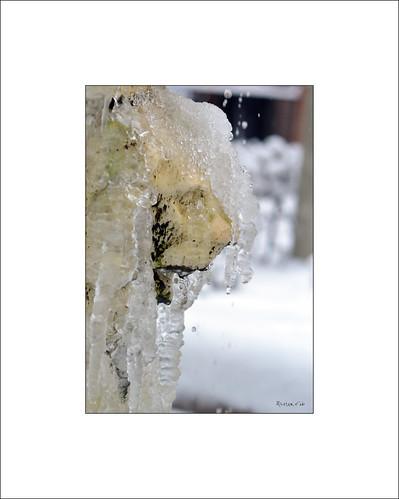 Detail of a frozen fountain