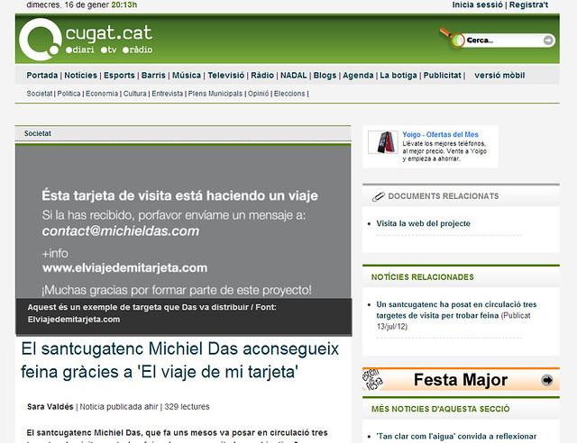 Artículo en la web - Cugat.cat (15.01.2013) - catalán