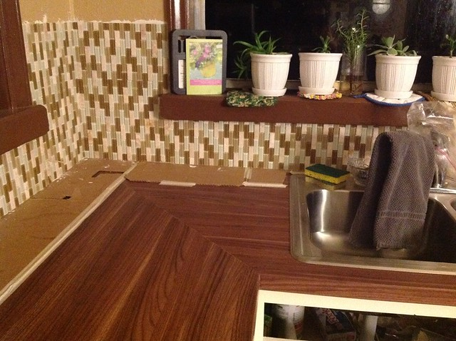 our backsplash installation that we decided to tile it vertically