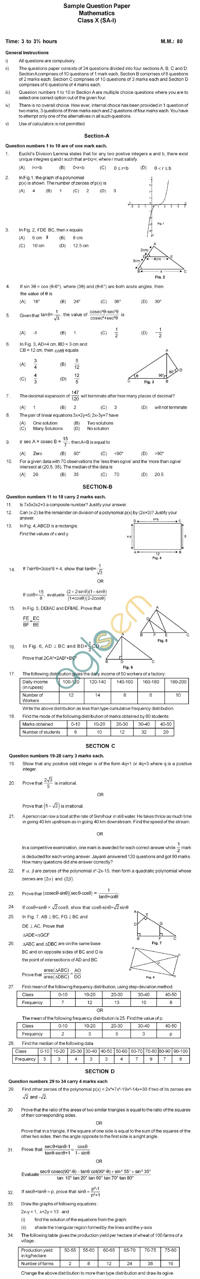 CBSE Board Exam 2013 Sample Papers (SA1) Class IX - Mathematics