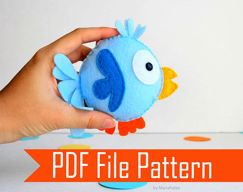 DIY Felt Bird plush, Sewing Pattern  by Mariapalito now available @ https://www.etsy.com/listing/113740235/funny-felt-bird-plush-pattern-diy-sewing