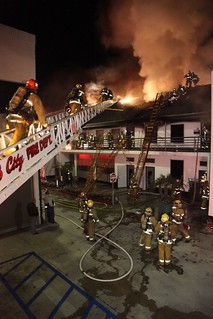 Stubborn Fire in Vacant L.A. Office Causes $1.625M Damage. LAFD Photo by Harry Garvin, click to view more...
