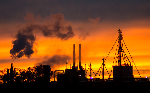 sunset, photograph, Smokestacks, smoke, Industrial