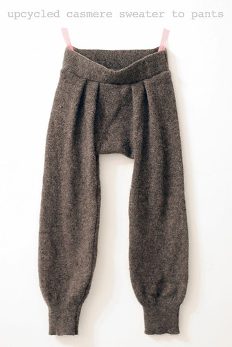 upcycled cashmere pants from sleeves