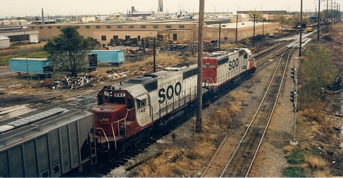 Southbound Soo Line transfer train traveling over the Belt Railway of Chicago tracks.  Cicero Illinois.  November 1988. by Eddie from Chicago