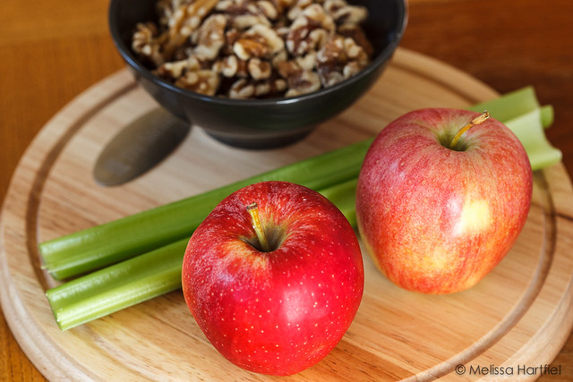 apples celery and walnuts