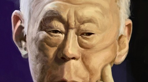 digital caricature of Lee Kuan Yew 李光耀 - 3a