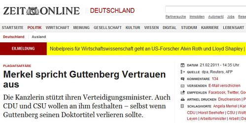 Screenshot Zeit Online, Artikel vom 21.02.2011