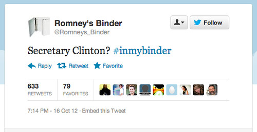 tweet from Mitt Romneys binder