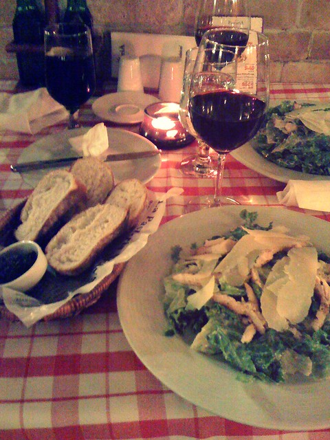 Delicious Caesar salad and wine at my favorite Italian restaurant La Pastaria, Sofia