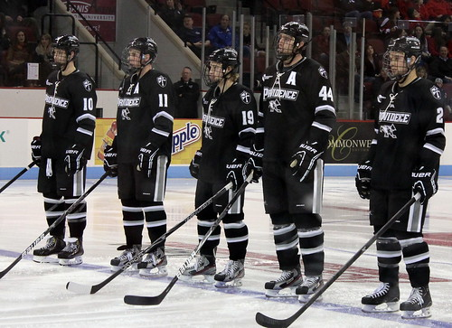 Providence College's starting line faces the BU crowd