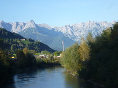 St. Johann im Pongau, Salzburg (state of Austria), at the small river Salzach with view to the Tauern (Alps)