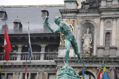 Guy Throwing Hand Statue in Antwerp