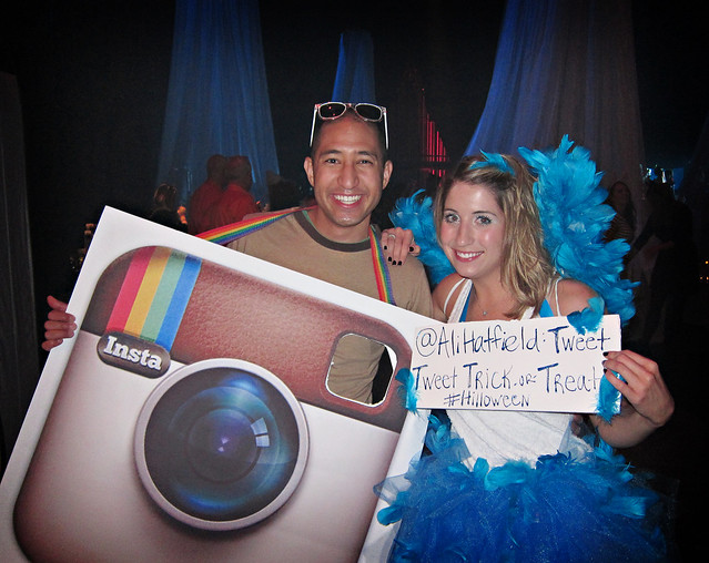 <had a blast last night at HillOween> i went as Instagram and Ali was the Twitter bird! — with Ali Hatfield at Starlight Theatre.