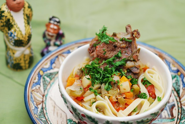 lagman vegetable lamb stew soup pasta noodles central asia
