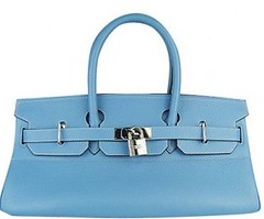 Replica Hermes Birkin Bag Blue Silver Lock Sale 42 CM