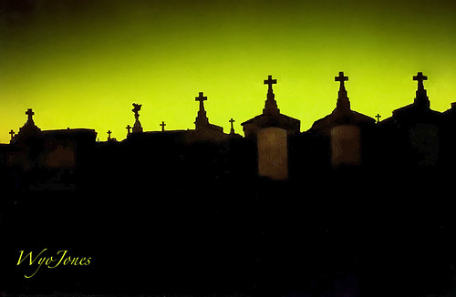 sunset cemeteries usa green silhouette night lowlight louisiana cross greenwoodcemetery neworleans eerie scan fujifilm np filters tombs citiesofthedead cokinfilters wyojones
