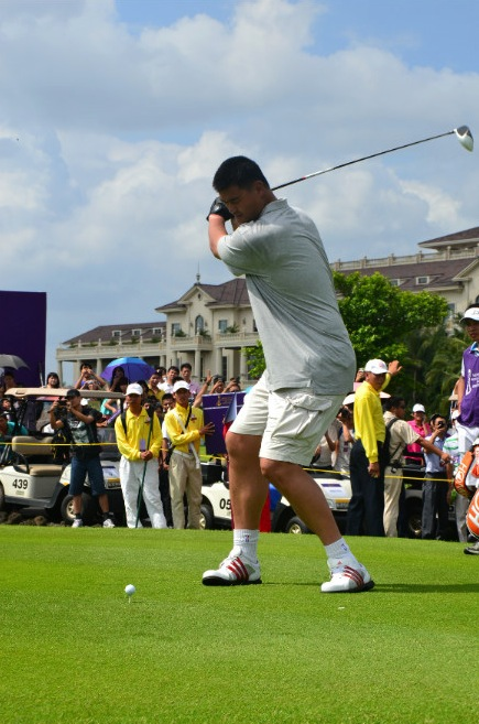 October 20th, 2012 - Yao Ming swings a golf club at the Mission Hills World Celebrity Pro-Am Golf Tournament held October 19 to 21 in Haikou, Hainan Island