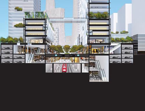 Проект описывает город, который может избежать чрезмерно высокого потребления энергии и выбросов углекислого газа, связанных с беспорядочным разрастанием пригородов