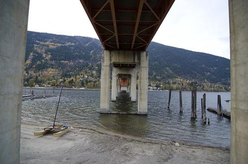 bridge autumn orange lake fall beach nature big support bob nelson pilars