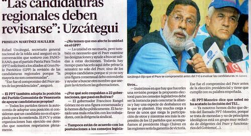 Rafael Uzcátegui solicitó que se revisen las candidaturas a las gobernaciones