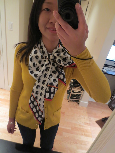 Banana Republic Grosgrain button cardigan (product no. 323435) and Bella Silk Scarf (waterfall knot)