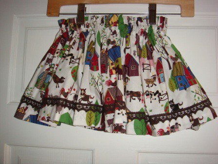 White print skirt with trims