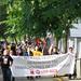 protesta realitzada pels treballadors de Cacaolat a la planta de Cobega a Esplugues