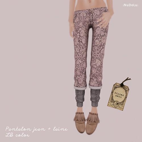 NuDoLu Pantalon jean + laine LB color