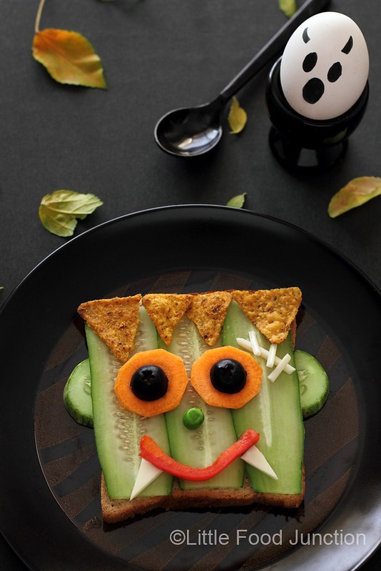 wheat toast with cucumber, carrots, and cheese, see more at http://homemaderecipes.com/healthy/16-halloween-treats/