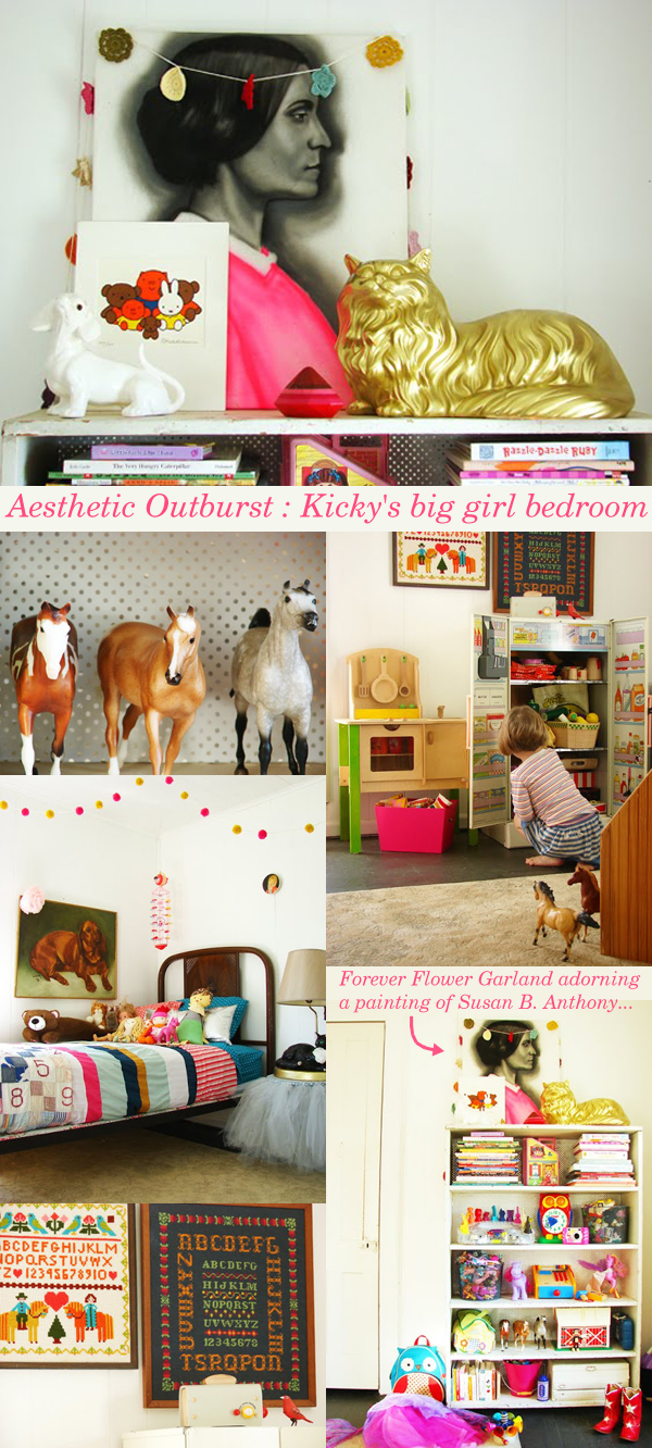 So excited to spot a Forever Flower Garland over at Aesthetic Outburst decorating Kicky's big girl bedroom! | Emma Lamb