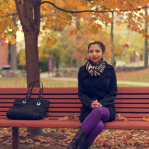 autumn woman tree art fall smile face leaves scarf bench bag photography lights waiting artist branch play purple cross bokeh maria connecticut coat ecsu oke omolade artistsontumblr darkan001 photographersontumblr omoladeoke