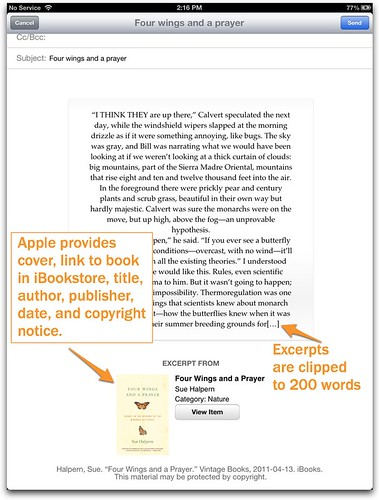 Sharing with iBooks 3 via email