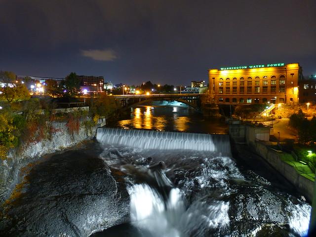 spokane falls at night