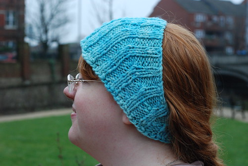 Calorimetry Knitty short-row handspun headband