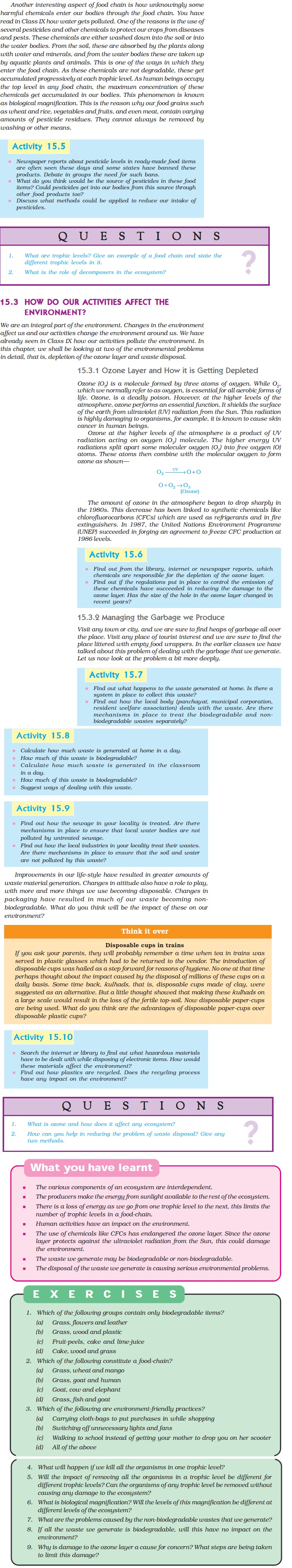NCERT Class X Science Chapter 15 - Our Environment